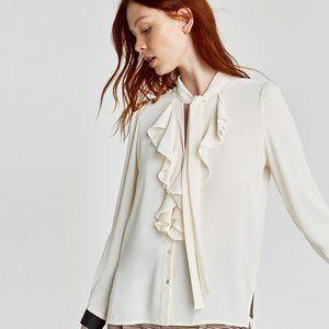 NWOT  Zara Ivory Ruffled Blouse   Size: L